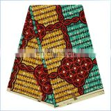 African guaranteed dutch wax hollandais real wax Rhinestones wax fabric for garment