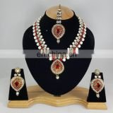 Western Designer Beautiful Pearl Crystal Red Stone Gold Plated Wedding Collection Kundan Zerconic Necklace set