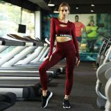 YOGA    Women active wear fashion sports athleisure clothing fitness gym suits long sleeve crop top yoga sets clothes