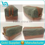 Leather Trim Waxed Canvas Men Toiletry Bag Shaving Bag Dopp Kit                                                                         Quality Choice