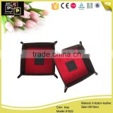 China Supplier Cheap Highend PU Leather Tray, Folding Leather Coin Tray