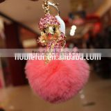 Fashion Key Chains With Real Rex Rabbit Fur Balls Rhinestone Doll Bag Accessories For Women