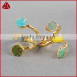 Wholesale Gemstone Jewelry Custom Natural Stone Rings Jewelry Turquoise And Druzy Gemstone Ring