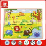 promotion toy 35 pcs wild animal design green background wooden 0.8 thickness kids puzzle game