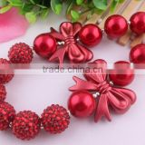 2014 Hot sale Christmas red latest model fashion Children jewelry!Bubblegum Beads Kids Chunky Christmas red Necklace!