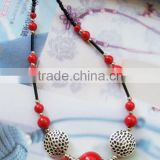 Fashion necklace red coral beads gemstone necklace jewelry