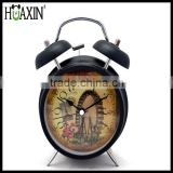 Antique alarm clock/promotional clocks/home decor quartz analog alarm clock with beautiful butterfly