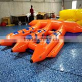 2015 Hot Orange And Blue Inflatable Fly Fish Boat For Sale/Customized Awesome PVC Tarpaulin Flying Banana Boat