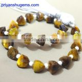 Yellow Tiger eye Faceted 6*6 mm Trillion Shape Briolette Beads straight drilled 6 inches strand length natural loose gemstones