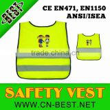 2015 news hot sell EN1150 children safety vest with printing wholesale/yellow safety vest