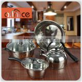 Non stick 3 layer capsuled bottom 7 pcs stainless steel 410&430 kitchen cookware set