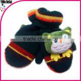 2015 hot sales warm winter Wholesale knit Stripe Baby wool knit gloves