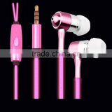 2015 hot selling Flash cable of in-ear EL glowing metal earphones for smart phone