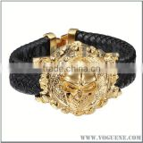 big gold skull head black braided leather good quality bracelet