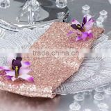 YHN#42 sequins band charger plate decor polyester cotton banquet wedding table napkin                                                                         Quality Choice
