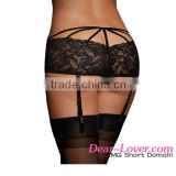 Latest Hot Sale Low Price Sexy Black Crotchless Lace Garter Belts For Women