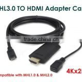 HIGH QUALITY 4Kx2K (3D supported), MHL3.0 Micro USB TO HDM I Adapter Cable for Samsung S4/S5