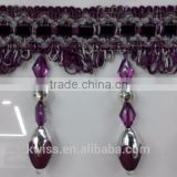 2015 new style fringe with beads,beaded trim for curtains