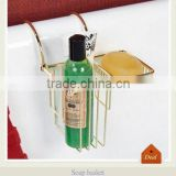 Over the rim soap basket with polished brass