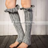 warm leg foot knitting wool boots set of morning glory over the mouth color ribbon socks