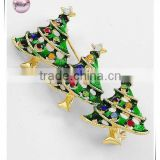 Gold Tone / Green Epoxy & Multi Color Rhinestone / Lead&nickel Compliant / Christmas / X-mas Tree Brooch