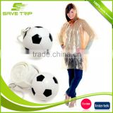Printed LOGO Mini PE Plastic Rain Poncho Ball with Keyring