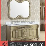 Solid wood bathroom furniture unit high end bathroom vanity with marble counter top S8838-1