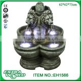 "32"" sandstone grey lion head outdoor waterfall fountain"