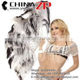 Black and White Natural Fluffy Ostrich Wing Feather Fan with Plastic Staves for Burlesque Dance