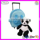 C246 Rolling Plush Blue Backpack Luggage Panda Bear Removable Toy Wheels New Soft Luggage