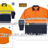 Hi Vis reflective long sleeve fire retardant clothing daytime orange safety workwear shirt UPF50+