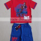 cheap pajama set for summer, 2015 new design high technology printed boys children summer cotton pajama set.