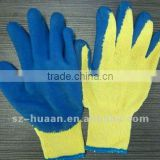 1/4 latex nitrile coated cheap 700g cotton gloves blue/ green/ red palm rough yarn cotton safety gloves CE