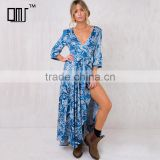 Paisley print long sleeve maxi wrap dress in blue for mature women