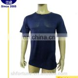 Wholesale China Silk Hemp Men's O-neck Short Sleeve Dark Blue T-shirts
