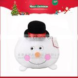 Soft Christmas Toy White Stuffed Plush Snowman Ball with Hat