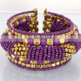 Purple Pearl beaded wholesale Fashion cuff Bracelets-Indian imitation costume cuff bracelet-party wear cuff bracelet