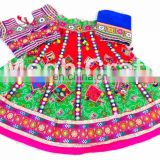 Colored Kutchi Work Traditional Chaniya Choli- Fushion Wear Chaniya Choli- Exclusive Cotton Chaniya Choli