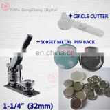 "Free Shipping 1-1/4"" 32mm 500 Sets Metal Pin back Supplies +Circle Cutter+ Badge Button Machine"
