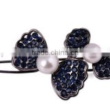 2015 new model FQ-0004 two bow knot with two beads hair barrette clip wholesale full diamond