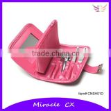 Pink PVC bag with coin purse manicure set for women