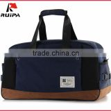 fashion cotton fabric travel duffle bag nubuck leather MOQ 500 pieces from Bag factory China