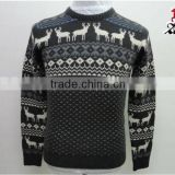 MEN FASHIONABLE CREW NECK PULLOVER CASHMERE KNITTING SPLICE DEER PATTERN FASHION BLACK SWEATER