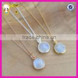 Hot sale gemstone jewelry moonstone bezel charm necklace wholesale 10mm moonstone necklace