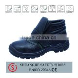 simple black genuine leather steel toe cap safety shoes with antistatic PU injection outsole executive safety shoes
