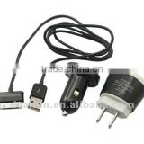 3in1 charger kit for Samsung Galaxy tab 10.1 P7500/galaxy tab P1000 with usb car charger US AC charger/Micro usb sync charger