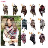 Hot selling winter tartan plaid scarf cashmere