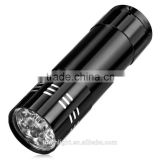 Camping Mini 9 LED flashlight high power 9 leds flash light Black Hiking Torch Lamp Flashlight use 3* AAA battery