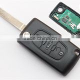 Best price Citroen C4 remote key with Citroen 307 3 button car flip key trunk button transponder chip ID46 433MHz