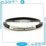 alibaba Black Color Genuine Sheep Skin Leather Bracelet Custom for Men with Stainless Steel Button